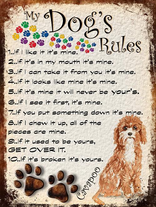 My Dogs Rules Cavapoo Retro Metal Sign / Fridge Magnet