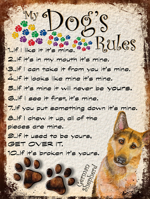 German Shepherd My Dogs Rules Retro Metal Sign / Fridge Magnet Shabby Chic