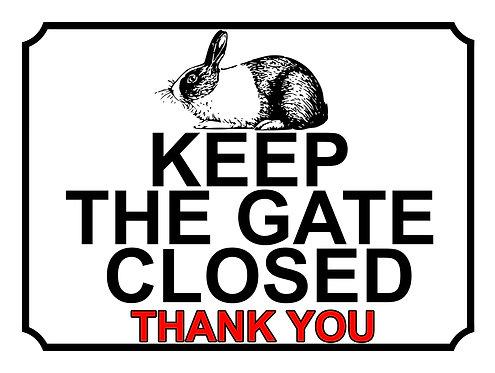 Keep The Gate Closed Thankyou Rabbit Silhouette Theme Yard Sign Garden
