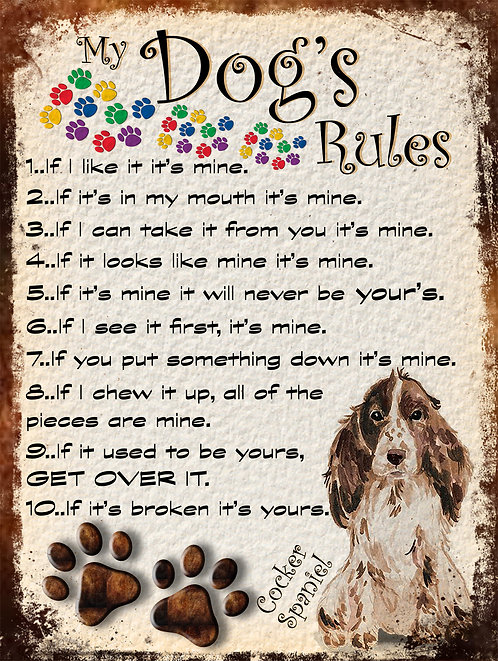 My Dogs Rules Cocker Spaniel Retro Metal Sign / Fridge Magnet