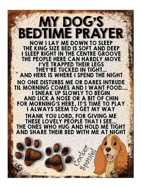 Cocker Spaniel My Dogs Bedtime Prayer Retro Metal Sign / Fridge Magnet