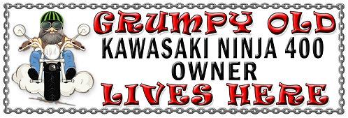 Grumpys Old Kawasaki Ninja 400 Owner,  Humorous metal Plaque 267mm x 88mm