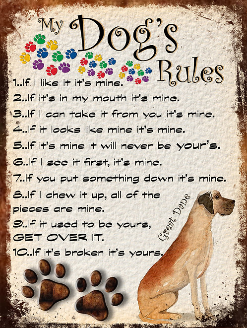 My Dogs Rules Great Dane Retro Metal Sign / Fridge Magnet