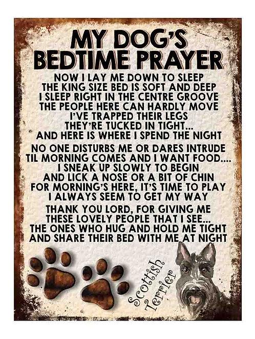 Scottish Terrier Gift My Dogs Bedtime Prayer Retro Metal Sign / Fridge Magnet