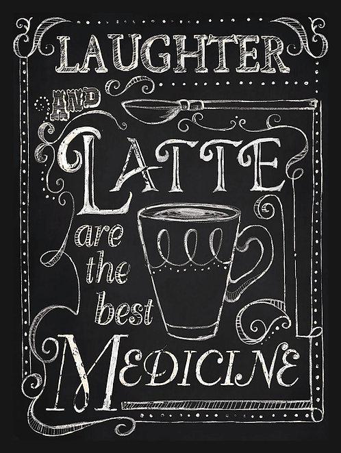 Laughter And Latte, Retro Metal Sign / Fridge Magnet Pub Bar Man Cave