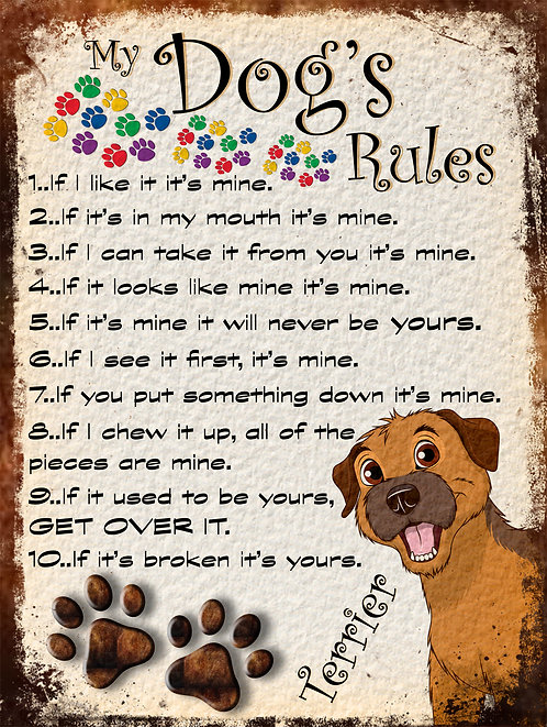 Terrior Gift My Dogs Rules Retro Metal Sign / Fridge Magnet Shabby Chich
