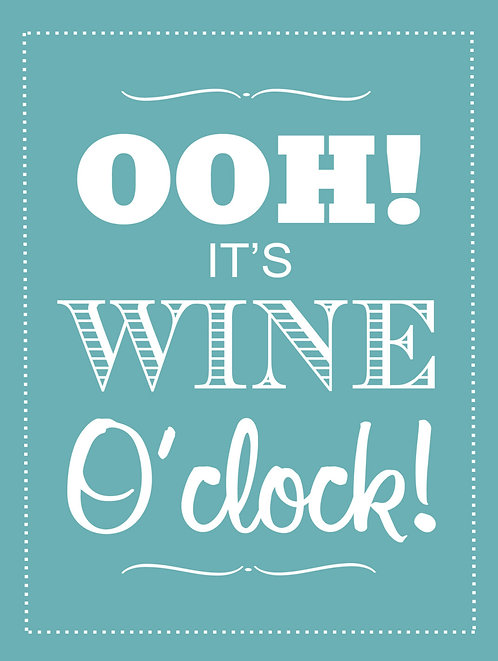 Wine O' clock, Retro Metal Sign / Fridge Magnet Pub Bar Man Cave