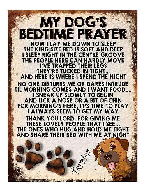 Terrier My Dogs Bedtime Prayer Retro Metal Sign / Fridge Magnet
