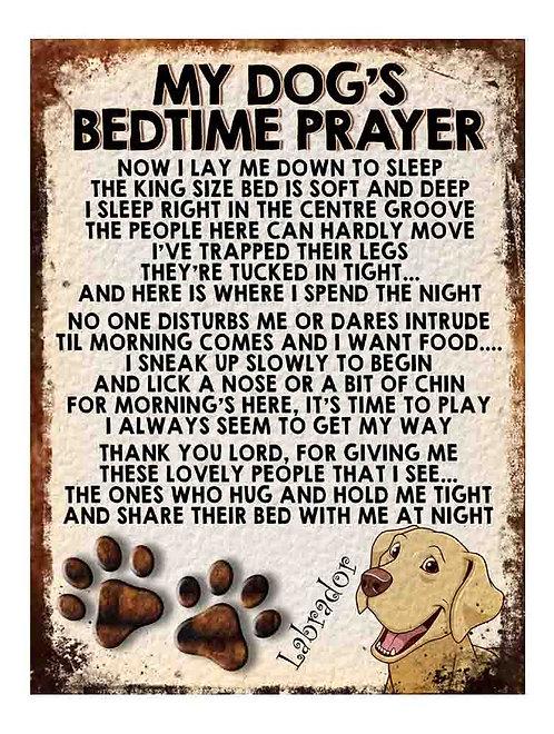 Labrador My Dogs Bedtime Prayer Retro Metal Sign / Fridge Magnet