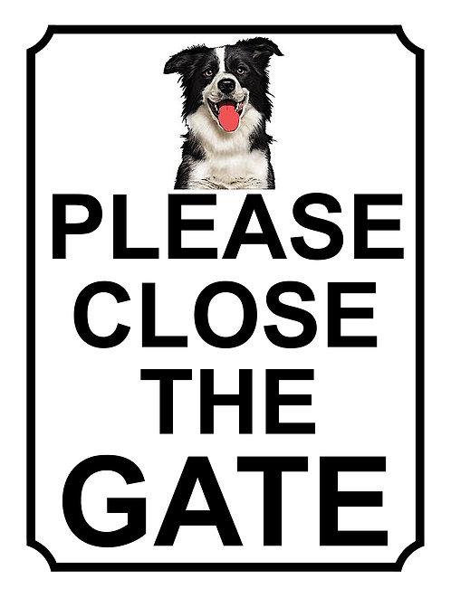 Please Close The Border Collie Theme Yard Sign Garden