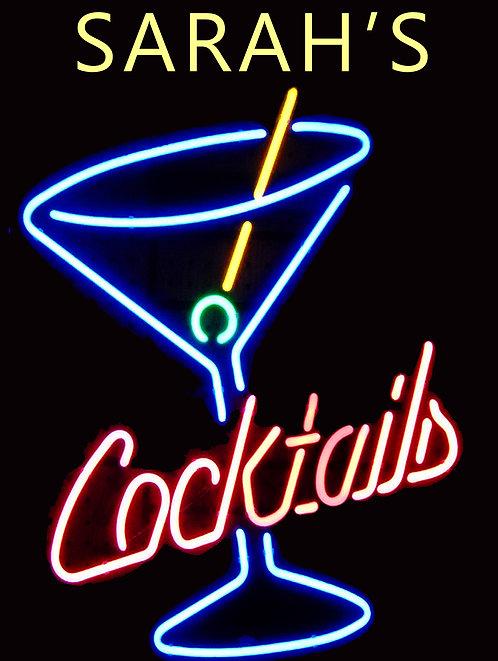 Personalised Neon Print Cocktail  Retro Metal Sign