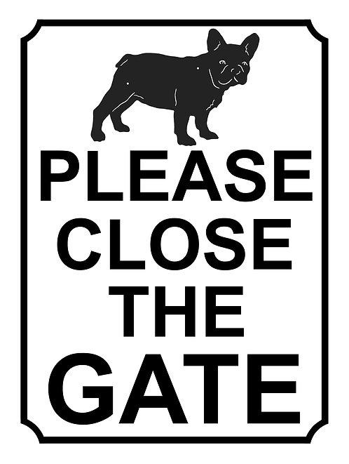 Please Close The Gate Dog Pug Theme Yard Sign Garden