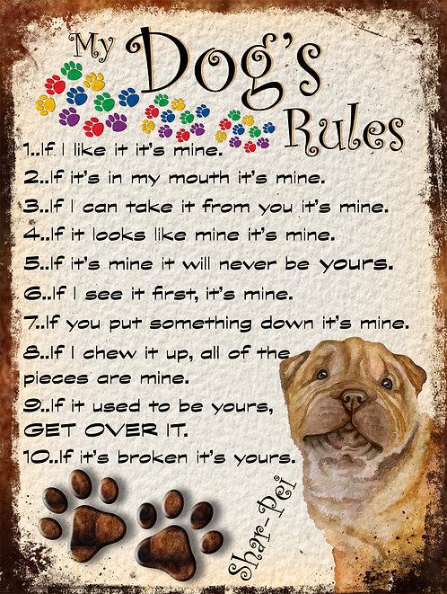 Shar-Pei Gift My Dogs Rules Retro Metal Sign / Fridge Magnet Shabby Chich