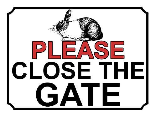 Please Close The Gate Rabbit Theme Yard Sign Garden