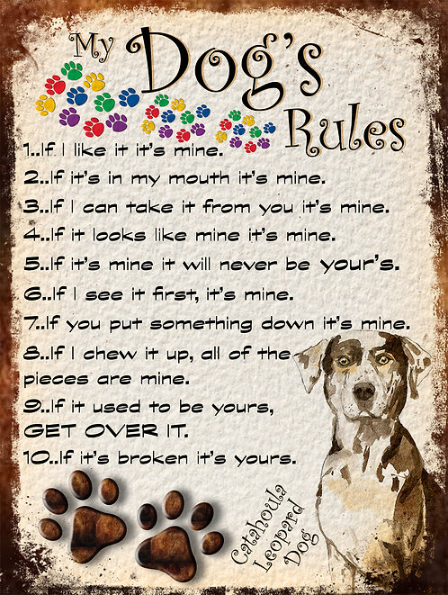 Catahoula Leopard Dog My Dogs Rules Retro Metal Sign / Fridge Magnet Shabby Chic