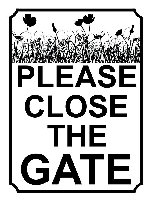 Please Close The Gate Poppy Field Theme Yard Sign Garden