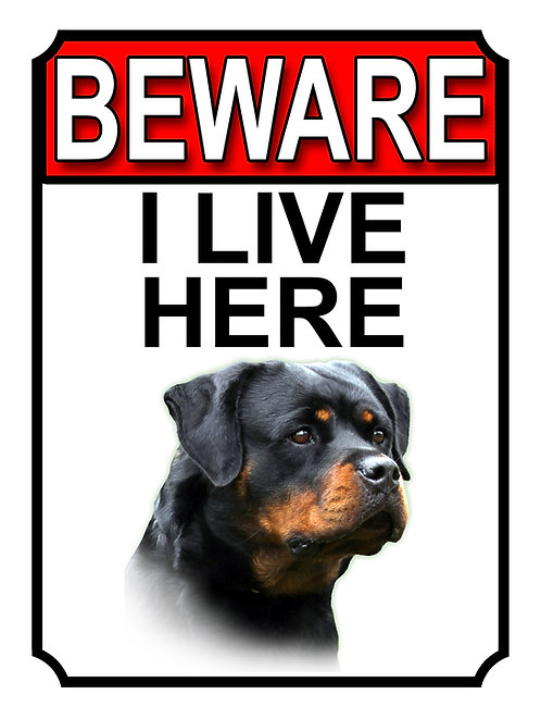 Rottweiler Beware I Live Here Dog Breed  Garden Yard Gate Sign 1081H1