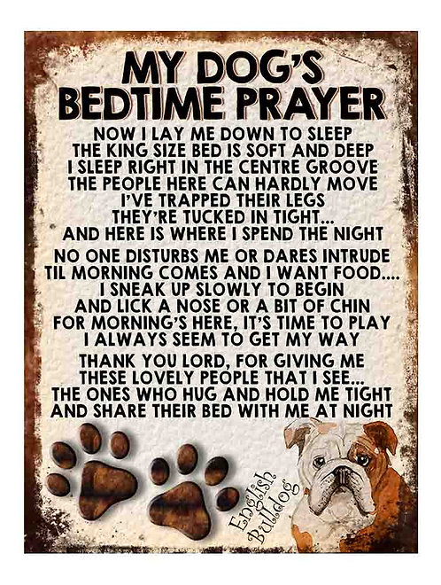 English Bulldog Gift My Dogs Bedtime Prayer Retro Metal Sign / Fridge Magnet