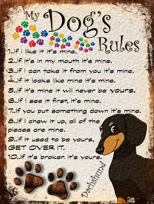 Dachshund Cute Gift My Dogs Rules Retro Metal Sign / Fridge Magnet Shabby Chic