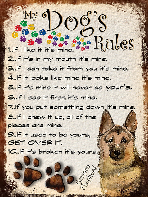 My Dogs Rules German Shepherd Retro Metal Sign / Fridge Magnet