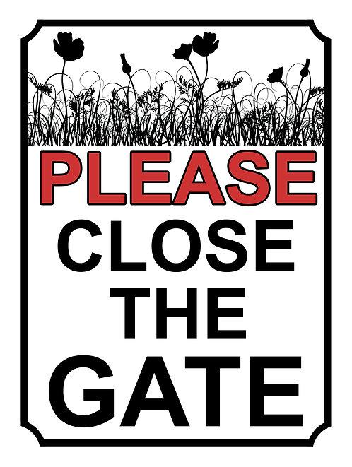 Please Close The Gate Poppy Field Theme Yard Sign Garden