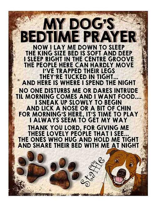 Staffie My Dogs Bedtime Prayer Retro Metal Sign / Fridge Magnet