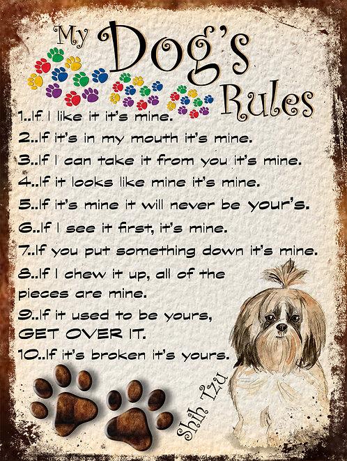 Shih Tzu My Dogs Rules Retro Metal Sign / Fridge Magnet Shabby Chic
