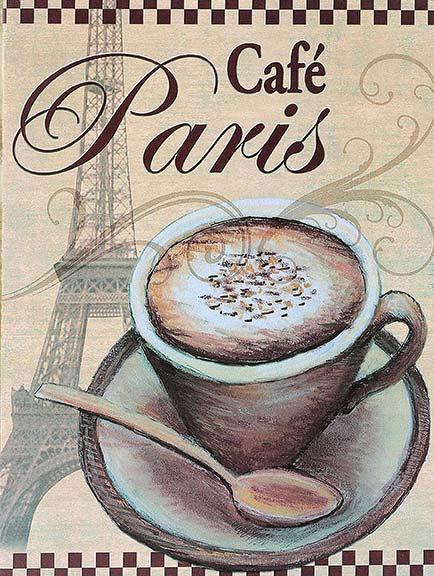 Cafe Paris, Retro Metal Sign / Fridge Magnet