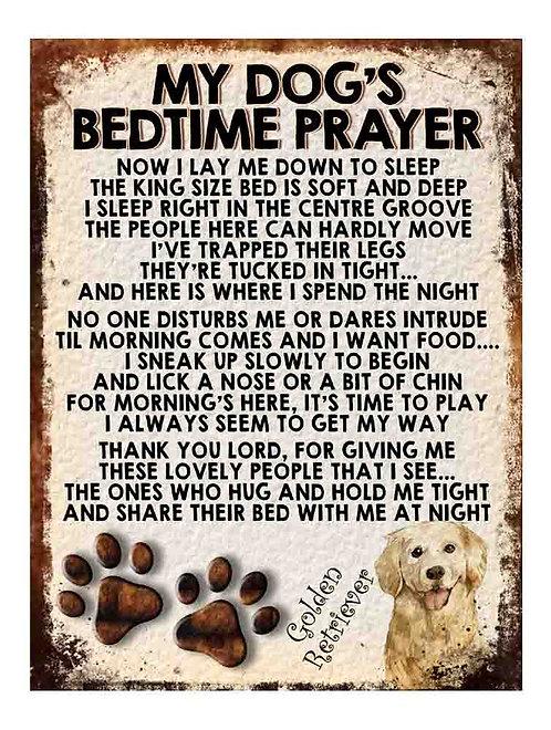 Golden Terrier My Dogs Bedtime Prayer Retro Metal Sign / Fridge Magnet