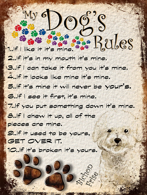 Bichon Frise My Dogs Rules Retro Metal Sign / Fridge Magnet Shabby Chic