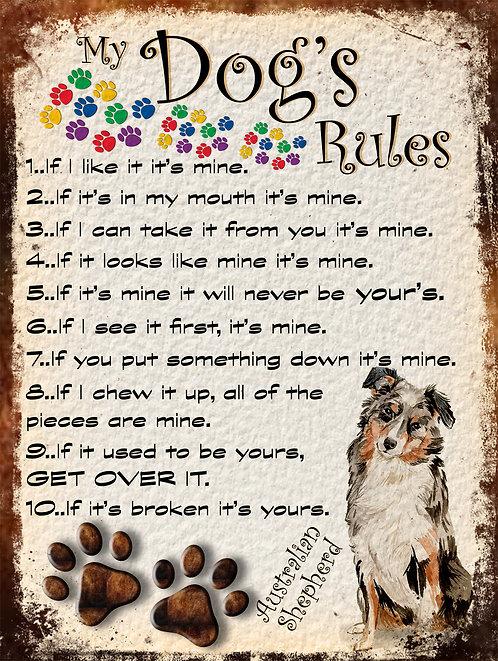 My Dogs Rules Australian Shepherd, Retro Metal Sign / Fridge Magnet