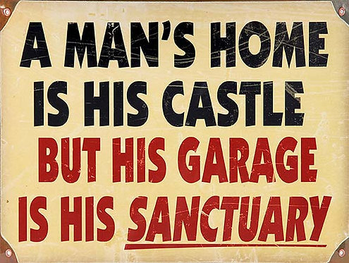 A mans Home Is His Castle Funny, Retro Metal Sign / Fridge Magnet Bar Man Cave