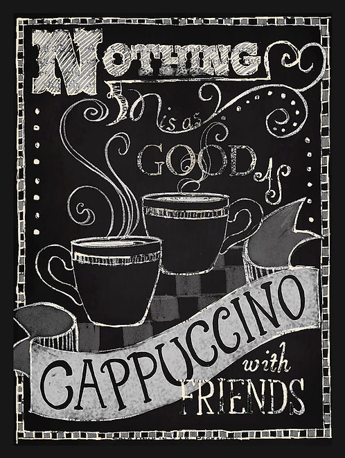Cappuccino With Friends, Retro Metal Sign / Fridge Magnet Pub Bar Man Cave