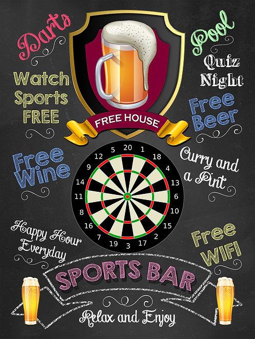 Sports Bar Darts, Retro Metal Sign / Fridge Magnet Pub Bar Man Cave