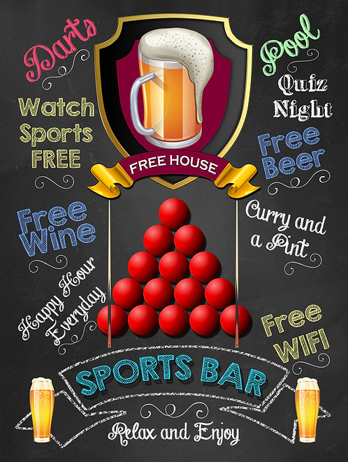 Sports Bar Pool Balls, Retro Metal Sign / Fridge Magnet Pub Bar Man Cave