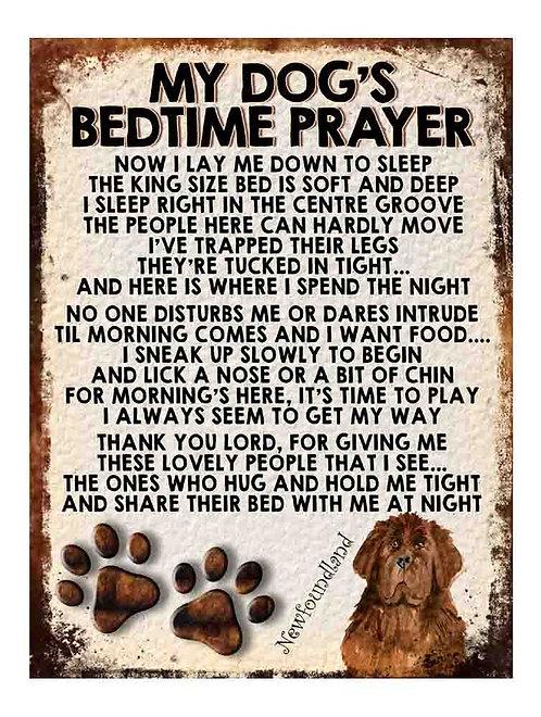New Foundland Gift My Dogs Bedtime Prayer Retro Metal Sign / Fridge Magnet