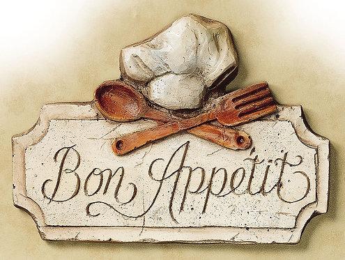 Bon Appetit, Retro Metal Shabby chic Sign / Fridge Magnet