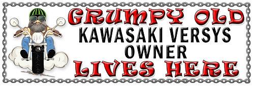 Grumpys Old Kawasaki Versys Owner,  Humorous metal Plaque 267mm x 88mm
