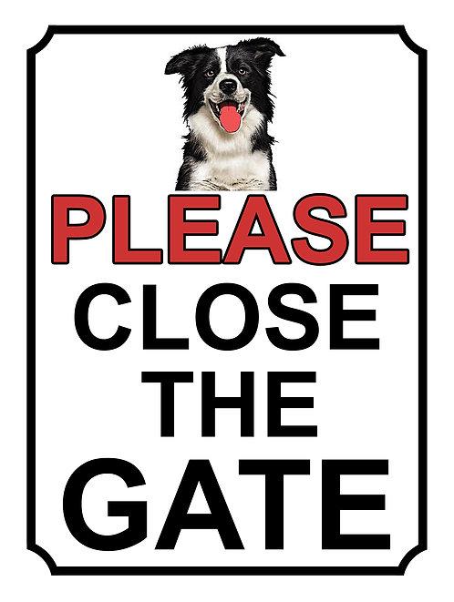 Please Close The Gate Border Collie Theme Yard Sign Garden