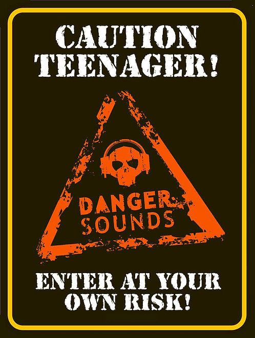 Caution Teenager Enter At Your Own Risk Funny, Retro Metal Sign / Fridge Magnet