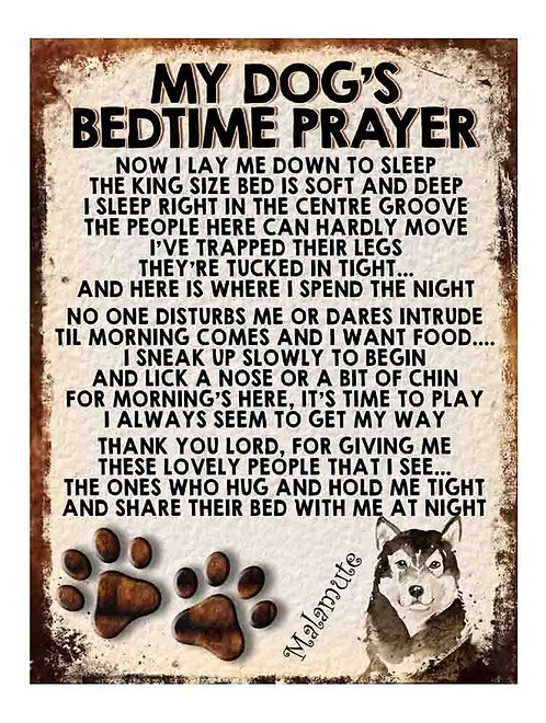 Malamute My Dogs Bedtime Prayer Retro Metal Sign / Fridge Magnet