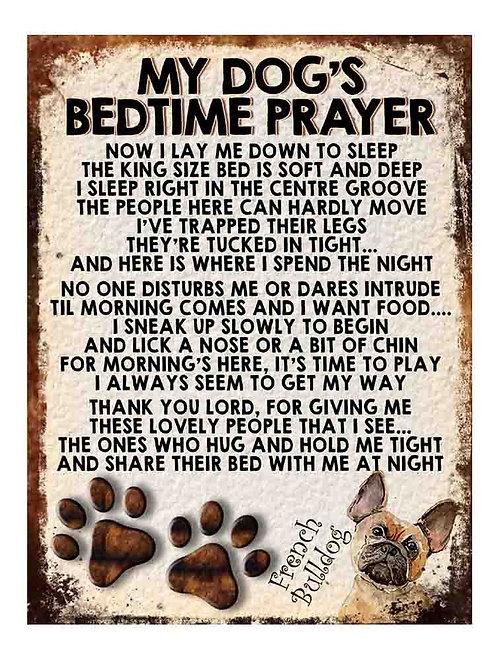 French Bulldog Gift My Dogs Bedtime Prayer Retro Metal Sign / Fridge Magnet