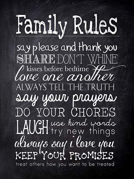 Family Rules, Retro Metal Sign / Fridge Magnet Home Decor