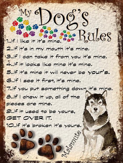 Malumute My Dogs Rules Retro Metal Sign / Fridge Magnet Shabby Chic