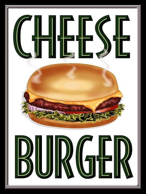 Cheese Burger, Retro Metal Sign / Fridge Magnet Pub Bar Man Cave