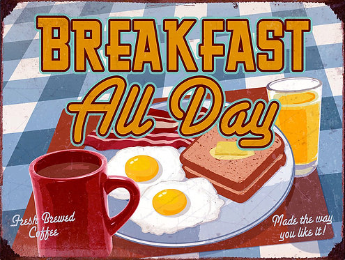 Breakfast All Day, Retro Metal Sign / Fridge Magnet Pub Bar Man Cave