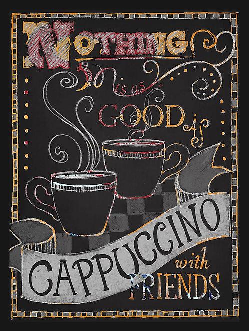 Cappuccino With Friends, Retro Metal Sign / Fridge Magnet Pub Bar Man Cave
