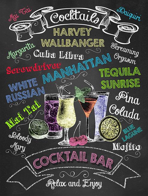 Cocktail Bar, Retro Metal Sign / Fridge Magnet Pub Bar Man Cave