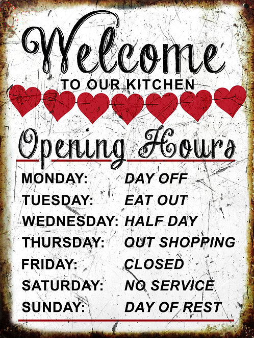 Welcome To Our Kitchen Funny, Retro Metal Sign / Fridge Magnet