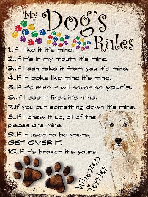 Wheaten Terrier My Dogs Rules Retro Metal Sign / Fridge Magnet Shabby Chic